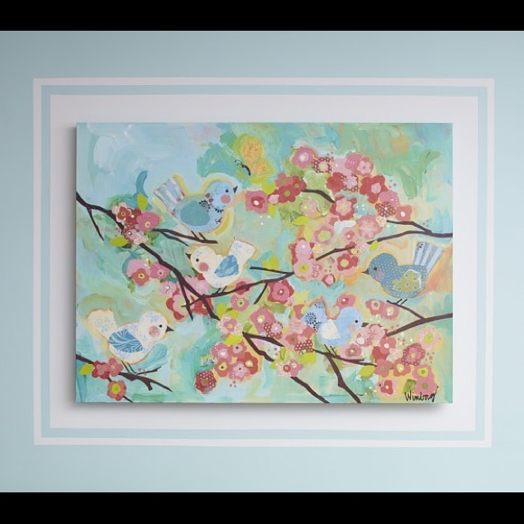 Pottery barn cherry blossom canvas print